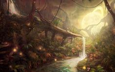 nature, Jungles, Artwork, Fantasy Art, Concept Art, Water, Moon, Lights, Plants…