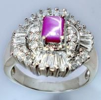 Spectacular Rare 8 ctw Star Ruby & White Topaz Ring~Solid 925 SS~Sz. 7.5~A Stunner! Sale~Hurry!