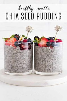 This vegan vanilla chia pudding is an easy, healthy breakfast. It is packed with fiber and nutrients to keep you satisfied for hours. Enjoy this on-the-go recipe for a busy lifestyle! Healthy Dessert Recipes, Vegan Snacks, Healthy Breakfast Recipes, Healthy Desserts, Whole Food Recipes, Healthy Food, Vegan Recipes, Superfood Recipes, Healthy Grains
