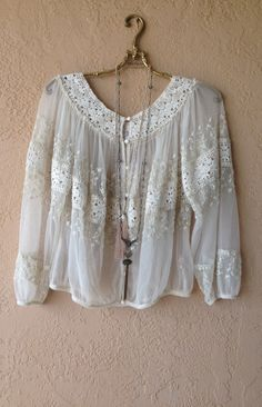 Image of Free People Sheer lace embroidered gypsy peasant top