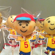 Caillou Cake Pops!!! Christopher would go nuts for these! I wonder if the cake pop shop would make them?