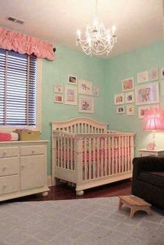 love the minty blue walls paired with the ecru and pink highlights