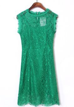#sheinside Green Round Neck Sleeveless Lace Bodycon Dress - Sheinside.com