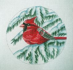 Handpainted Cardinal Needlepoint Canvas by colors1 on Etsy