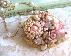 Pretty in Pink Shabby Chic One Of A Kind Vintage Jewelry Collage Necklace