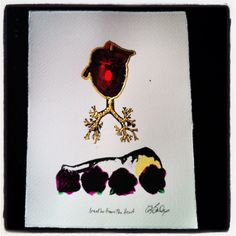 #breathefromtheheart #vanitasforgirls hand printed,coloured and gilded gocco print 24ct gold by Zoe Bailey