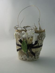 Tiny Gorgeous Peat Pot Favor Containers trimmed in Pleated Antique Sheet Music and Vintage Flowers