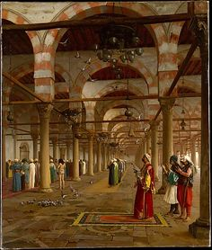 "Prayer in the Mosque  Jean-Léon Gérôme  (French, Vésoul 1824–1904 Paris)     ""Orientalist images represent more than two-thirds of Gérôme's painted oeuvre and are based on his travels in the Near East, especially North Africa."""