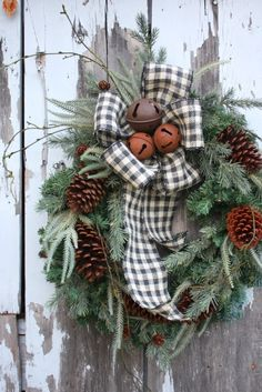 Christmas Wreath, MIxed Pine, Pine Cones, Rusty Jingle Bells, Black and White Plaid Burlap.