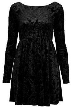 Black velvet long sleeve dress