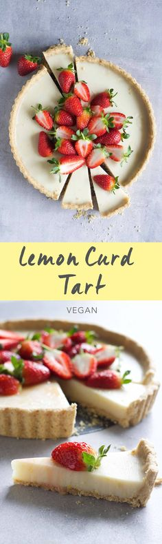 Lemon Curd Tart! Creamy lemon curd filling with an almond oat crust. Vegan, gluten-free and so simple to put together! #vegan #glutenfree #recipe