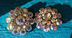 Stunning vintage crystal earrings, Aura Bourealis golden crystal clip on earrings, vintage cluster earrings, costume jewelry vintage jewelry by TwoSwansSwimming on Etsy