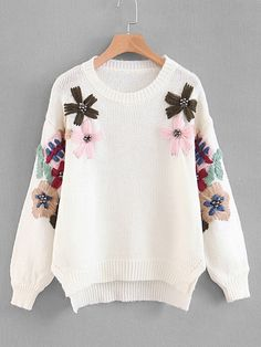 To find out about the Flower & Beaded Slit Side Dip Hem Sweater at SHEIN, part of our latest Sweaters ready to shop online today! Floral Frocks, Sweater And Shorts, Kimono Cardigan, Open Cardigan, Sweater Weather, Winter Sweaters, Women's Sweaters, White Style, Winter White