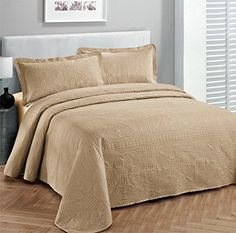 """Fancy Collection 3pc Luxury Bedspread Coverlet Embossed Bed Cover Solid Taupe New Over Size 118""""x106"""" King/California King * READ MORE @ http://www.ilikeboutique.com/boutique/fancy-collection-3pc-luxury-bedspread-coverlet-embossed-bed-cover-solid-taupe-new-over-size-118x106-kingcalifornia-king/?a=9173"""