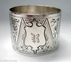 "Superb Antique Drum Pattern Bright Cut Engraved Sterling Silver Napkin Ring ""R"" 