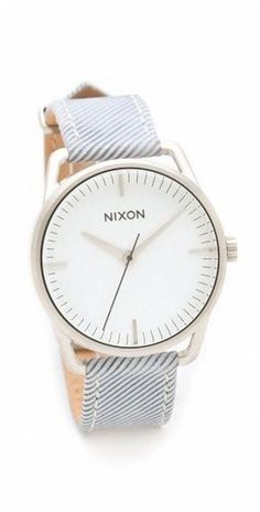 "The ""Mellor"" pinstriped Nixon watch, combine w/ white dress"