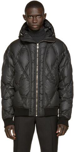Versus: Black Quilted Down Jacket   SSENSE