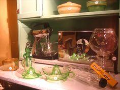 Depression Glass Window Displays, Depression, Kitchen Appliances, Glass, Home Decor, Store Windows, Cooking Ware, Homemade Home Decor, Shop Displays