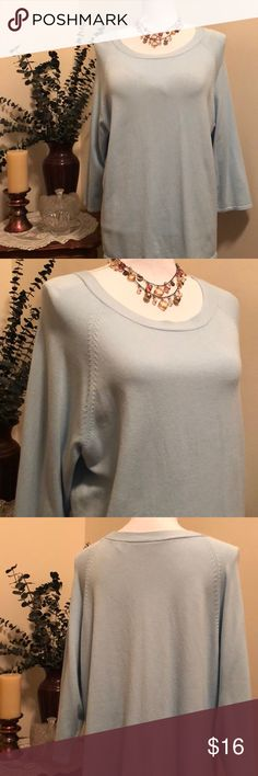 Villager * Liz Claiborne Co. Woman Top Beautiful Ice Blue Pullover Top. This gorgeous Top has 3/4 sleeves and scoop neck. Measures 22 pit to pit and length is 26.  No flaws In EUC! Villager Liz Claiborne Tops