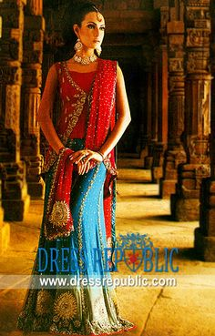 Red Turquoise Kelly, Product code: DR1665, by www.dressrepublic.com - Keywords: Turquoise and Red Lehenga for Reception Valima, Bridal Dresses for Valima Reception Online