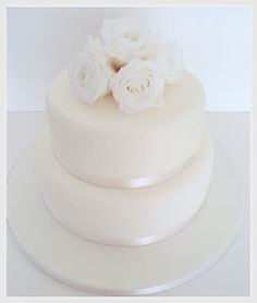 White Rose Wedding Cake - simple yet so stunning