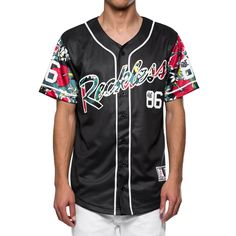 Shaka Baseball Jersey - Black, , Men's Jersey, Young & Reckless, Young And Reckless - 1