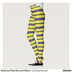 Thick and Thin Blue and Yellow Stripes Leggings #leggings #yogapants #workout #fitness #pilates #fashion