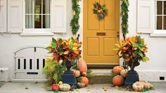 It's that time of year again! Here's a roundup of pumpkin ideas for your front door to help ready your porch for fall. Deck out your entry this season with these easy pumpkin ideas to create a Halloween front door. Build a pretty, pumpkin-covered porch accented by everything from kale and cabbage to mums and Mexican sage. We've rounded up fall and Halloween door decoration ideas for all pumpkin size, shape, and color varieties – from prize-winning heirloom types to the teeny-tiny white…