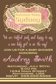 Pink Paisley Girl Baby Shower Invitation