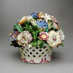 Basket of flowers, 1760-1765,  Bow Porcelain Factory; Image © 2006 Carnegie Museum of Art, Pittsburgh