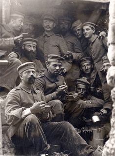 Württembergers from Reserve-Infanterie-Regiment 119, 26th Division take a break from their duties to enjoy some soup and boiled sausage.  The 26th Reserve Division spent World War I on the Western Front. It fought in the Battle of the Frontiers and then participated in the Race to the Sea, fighting in the Somme region. It occupied the line in the Somme/Artois region into 1916, facing the British offensive in the Battle of the Somme.