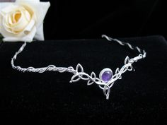 Wedding Bridal Celtic Headpiece Circlet Tiara with Amethyst Cabochon - Sterling Silver Celtic Trinity Knot, Celtic Knots, Celtic Wedding, Maquillage Halloween, Circlet, Hair Jewelry, Jewellery, Headpiece Jewelry, Tiaras And Crowns