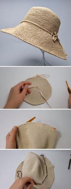 Crochet Summer Hat Tutorial - knitting is as easy as 3 knitting . Crochet Summer Hat Tutorial - knitting is as easy as 3 knitting comes down to three essential skills. Sombrero A Crochet, Crochet Summer Hats, Crochet Sun Hats, Crochet Scarves, Crochet Shawl, Easy Crochet, Crochet Flowers, Knitting Patterns, Crochet Patterns