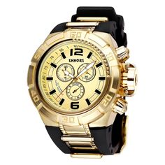 [$10.82] SHHORS Big Dial 3 Small Decoration Dial Fashion Men Quartz Watch with Silicone Band (Black + Gold)