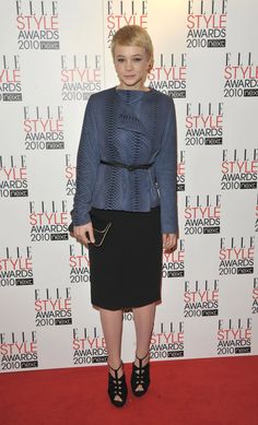 Pin for Later: Happy Birthday, Carey Mulligan: 51 Roaring Red Carpet Moments Carey Mulligan in The Row at the 2010 Elle Style Awards At the Elle Style Awards, Carey topped her sleek black basics with a blue python jacket by The Row.