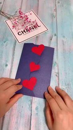 Diy Origami Cards – I Love You – crafts gifts Diy Origami Cards, Paper Crafts Origami, Origami Art, Diy Gift Cards, Cool Paper Crafts, Diy Crafts For Gifts, Decor Crafts, Card Crafts, Paper Flowers Craft