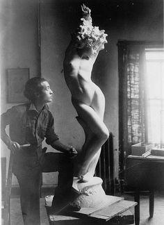 Isamu Noguchi with Undine (1925)  It's like Pygmalion.