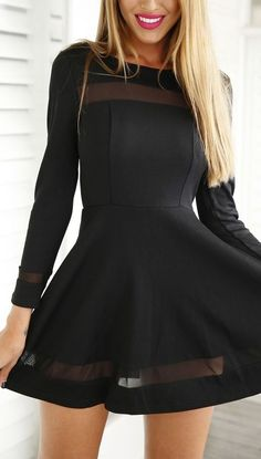 Black Mesh Panel Skater Dress. Little black fun mood dress :) love!!