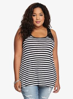 Striped Crochet Lace Racerback Tank Top From the Plus Size Fashion Community at www.VintageandCurvy.com
