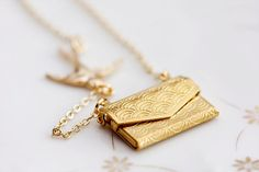 Swallow Love Letter Necklace Envelope Locket Flying by SilentRoses, $23.00