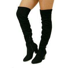 These sexy over the knee boots feature a round toe front, chunky stacked heel with a super soft faux suede upper and a side zipper for an easy fit. The perfect pair of over the knee boots for this sea