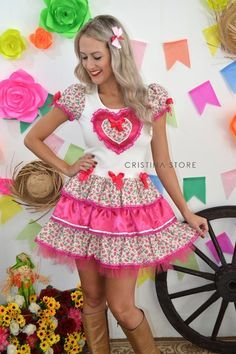 Vestido Gatinhos/Pink - Caipira Chic - comprar online