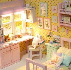 "Diorama "" Pastel Morning Bedroom "" OOAK by Nerea Pozo Keera   eBay"