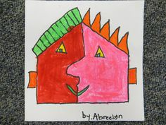 After learning a little about Picasso and Cubism, we made Picasso shape faces. The students traced a shape onto a 6 inc...