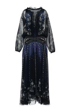 Star Printed Silk Georgette Long Dress by ROBERTO CAVALLI Now Available on Moda Operandi