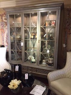 #InteriorDesigner #LindaCaruso says if you need to fill a wall in your #home.......  This #gorgeous #HickoryWhite #displaycabinet will work beautifully! Shown in finish #FrenchBlue with #GoldStriping. AND GUESS WHAT!?!? It's also available in many other #customcolors!! #LuxuryFurniture #CustomFurniture #Cabinet #Cabinetry #InteriorDesign #HomeDecor #HomeDesign #Decor #Design  For more information visit www.WHLuxe.com