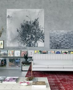 love the use of vinyl as art and cement walls. dramatic contemporary art room. wouldn't work with my kids though.