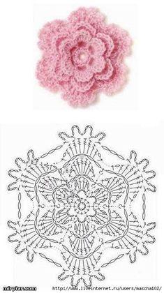 Crochet Rose: ~ love it!DIY Crochet Flower Diagram DIY Crochet Flower Diagram by diyforeverPink crochet flower with lacy edgeLace Flower ☀CQ by Maison BeauvilainLace Flower CQ Thank you for sharing!Pink little rose crochet häkeln flower flowers bl Crochet Diy, Diy Crochet Flowers, Beau Crochet, Crochet Puff Flower, Crochet Flower Tutorial, Crochet Motifs, Knitted Flowers, Crochet Flower Patterns, Crochet Diagram