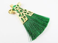 Emerald Green Silk Thread Turkish Caftan Tassel by LylaSupplies