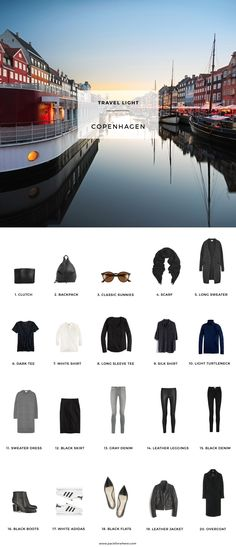 What to pack for Copenhagen, Denmark in the Fall. Includes carry-on travel light packing list. 20 items, 10 outfits, 1 carry-on. Fall packing list for…